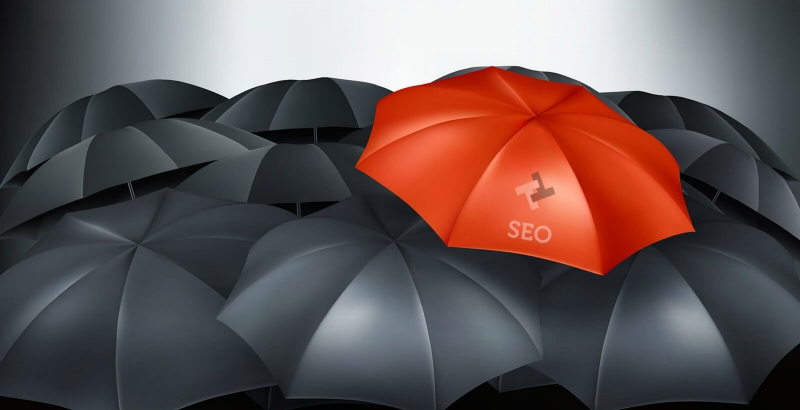 Red umbrella with SEO and TTWD Logo standing out among black umbrellas