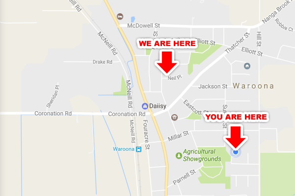 Map showing a You Are Here sign and a We Are Here sign
