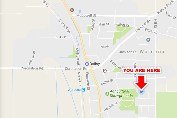 Map showing a You Are Here sign
