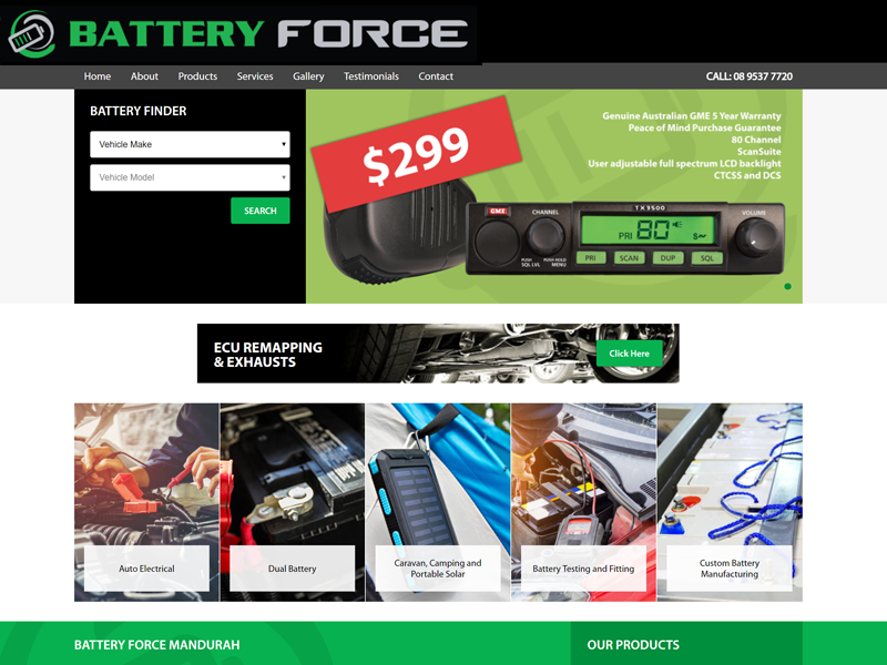 Screenshot of the Battery Force Website