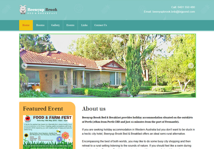 Screenshot of the Beenyup Brook Bed and Breakfast Website