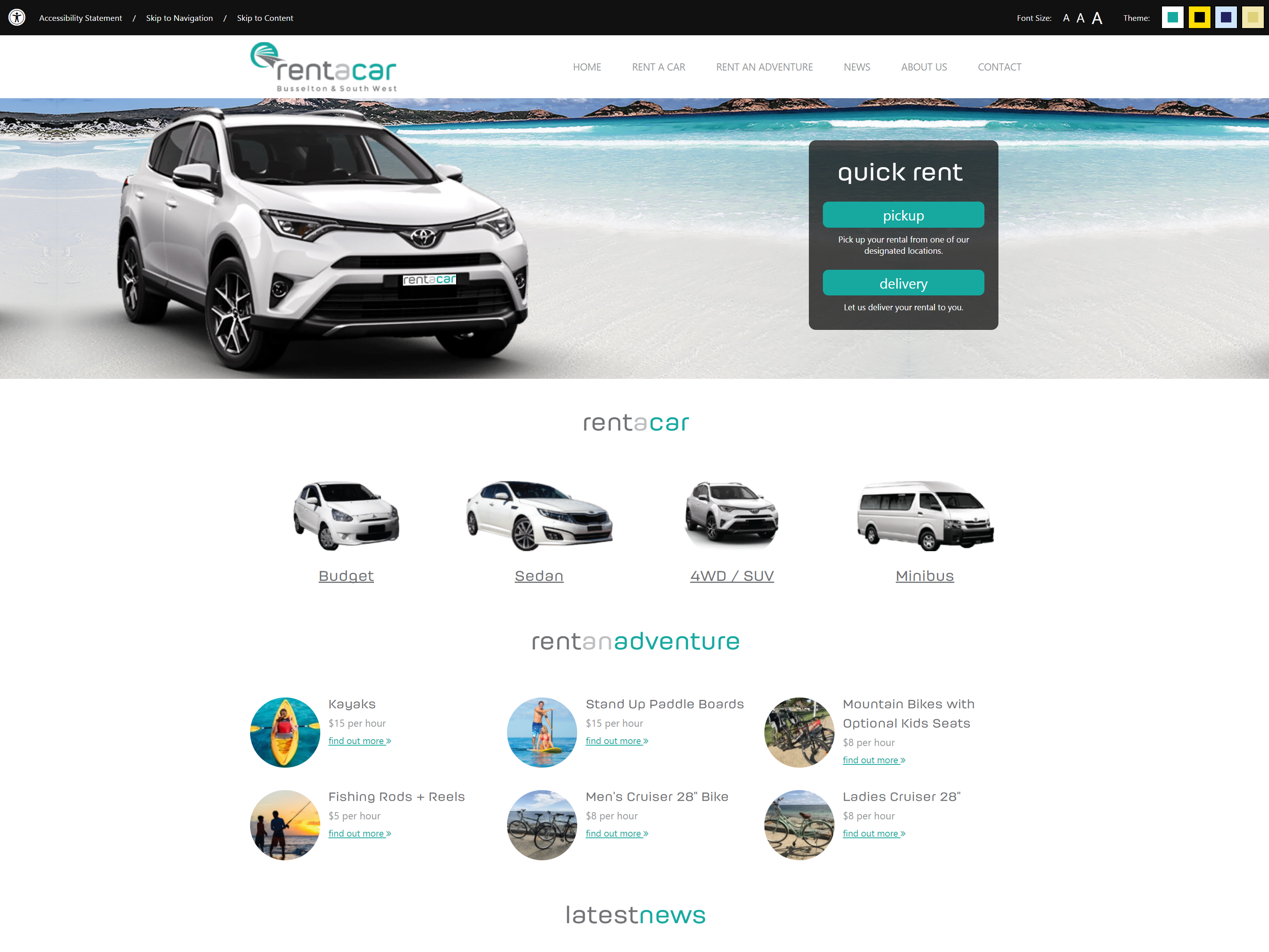 Screenshot of the Busselton & South West Rentacar Website