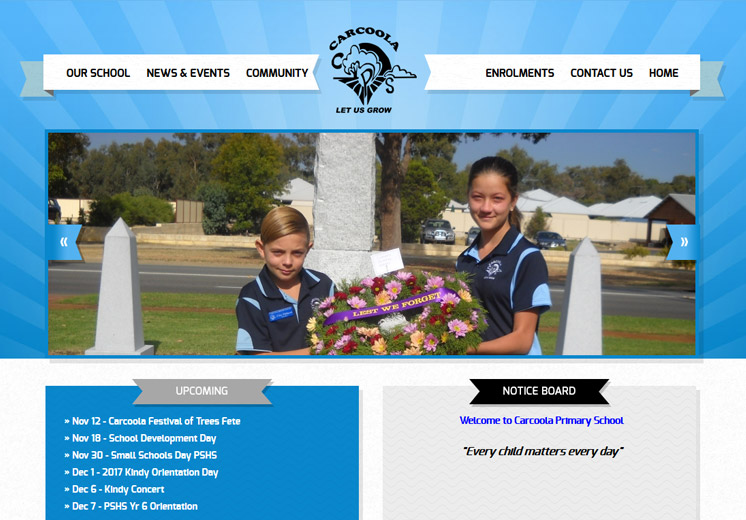 Screenshot of the Carcoola Primary School Website