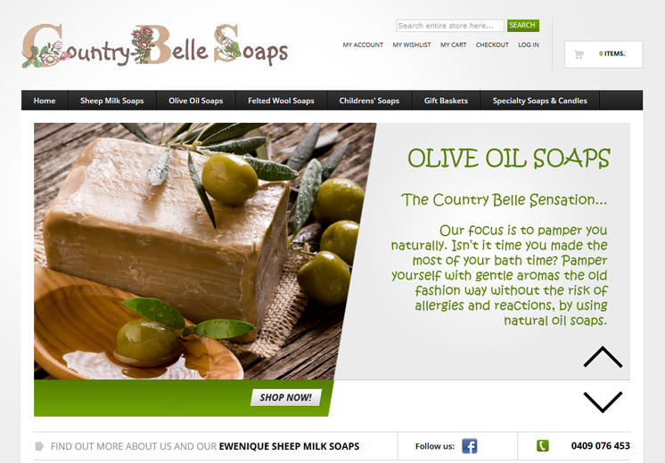 Screenshot of the Country Belle Soaps Website