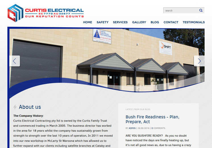 Screenshot of the Curtis Electrical Website