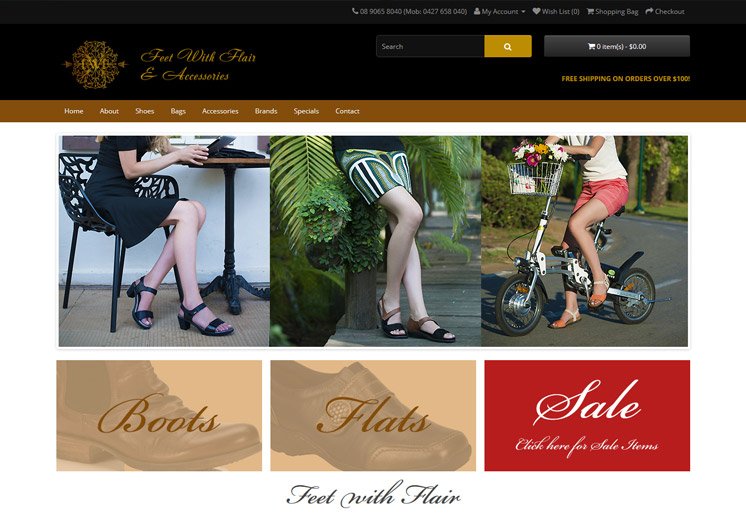 Screenshot of the Feet with Flair Website
