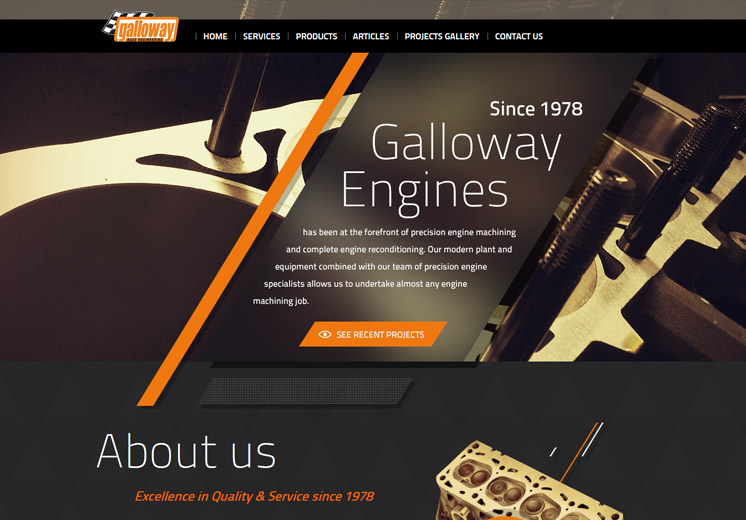 Screenshot of the Galloway Engines Website