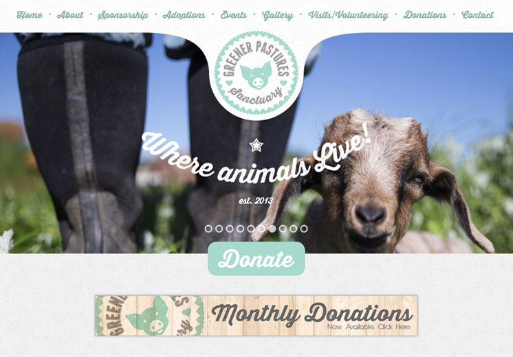 Screenshot of the Greener Pastures Sanctuary Website