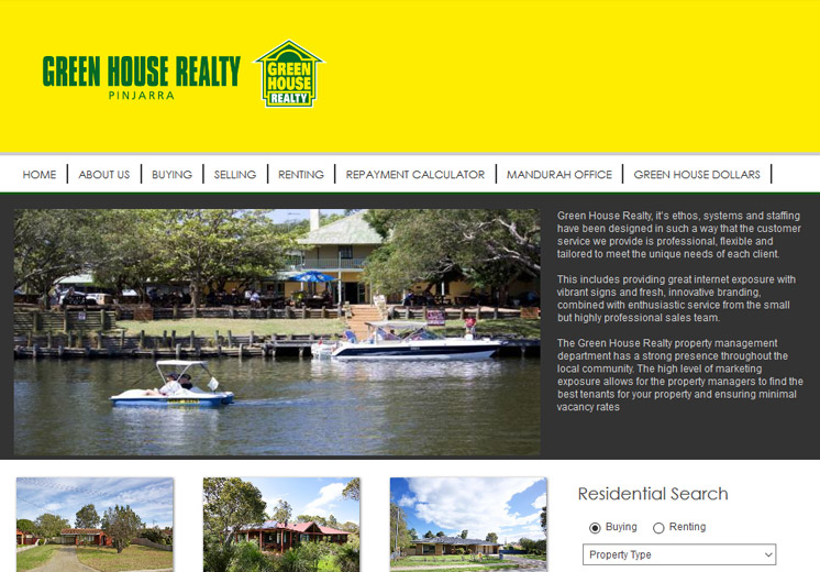 Screenshot of the Greenhouse Realty Pinjarra Website