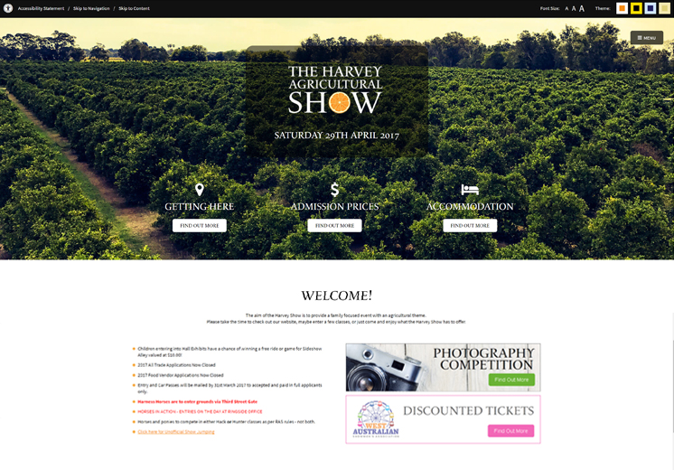 Screenshot of the Harvey Show Website