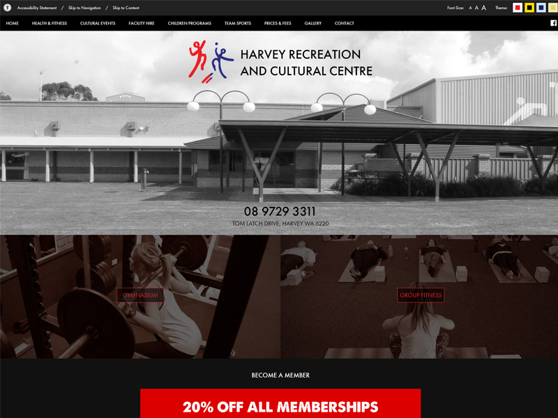 Harvey Recreation and Cultural Centre Website