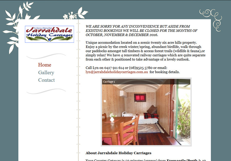Screenshot of the Jarrahdale Holiday Carriages Website