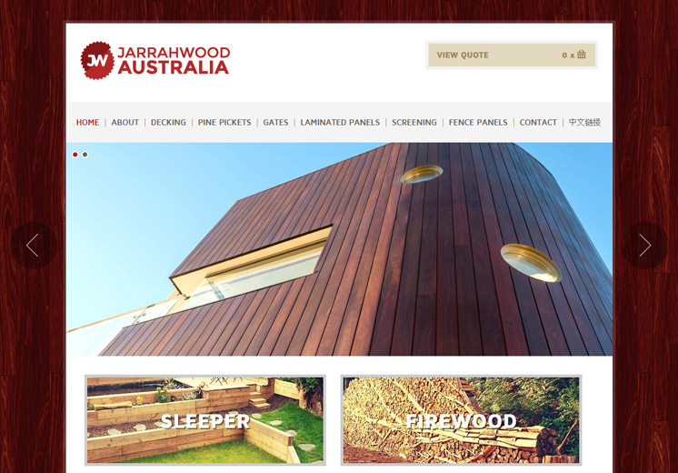 Screenshot of the Jarrahwood Australia Website