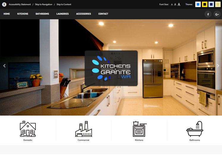 Screenshot of the Kitchens and Granite WA Website