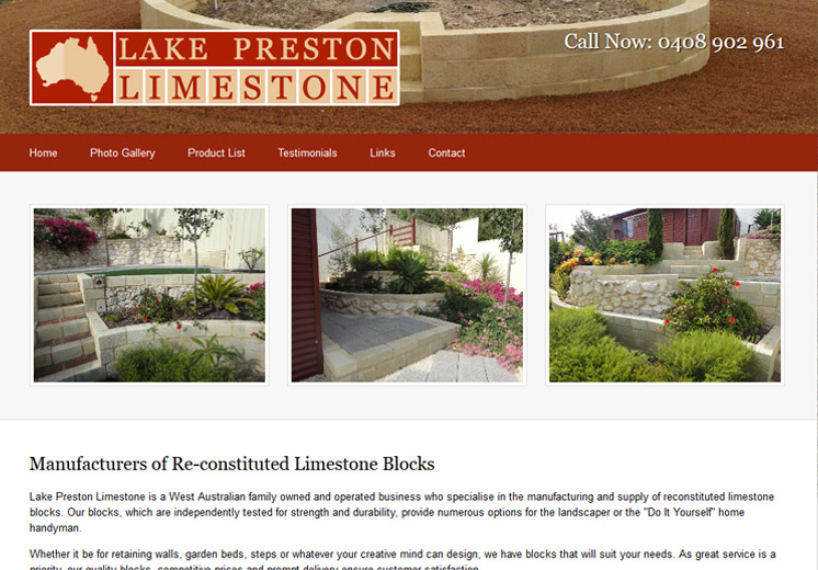 Screenshot of the Lake Preston Limestone Website