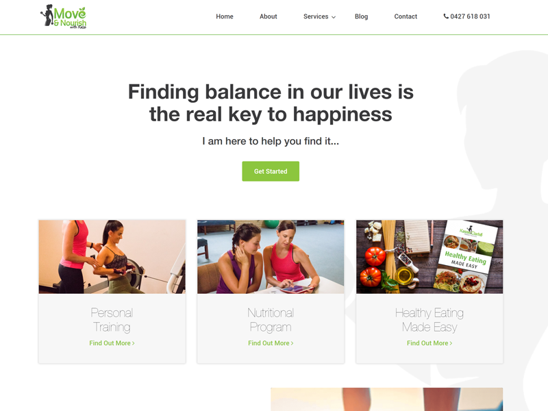 Screenshot of the Move and Nourish Website