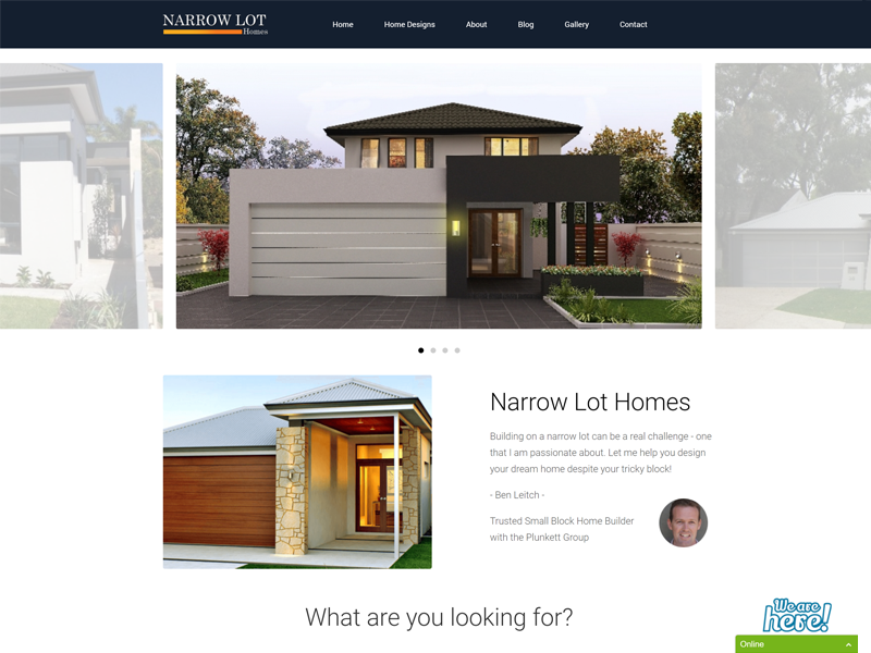 Screenshot of the Narrow Lot Homes Website