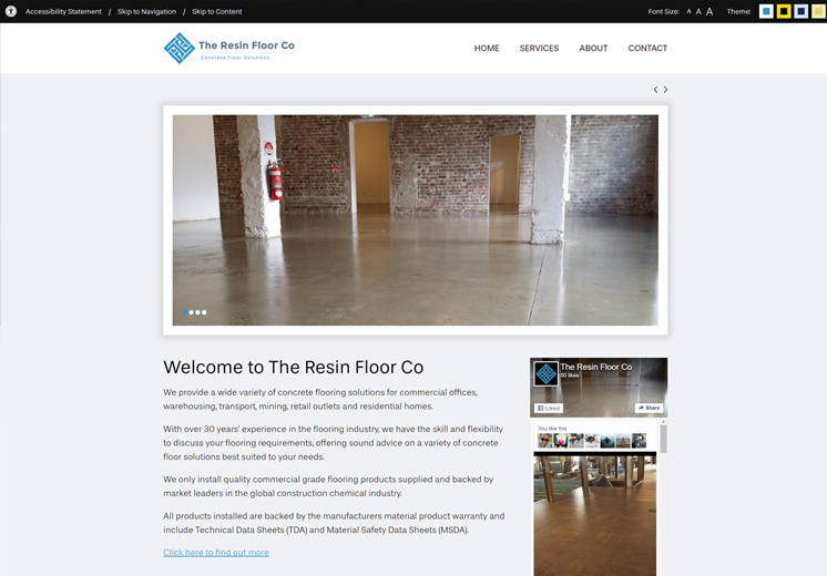 Screenshot of the The Resin Floor Co Website