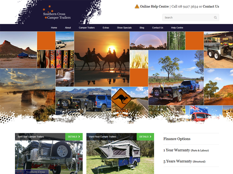 Screenshot of the Southern Cross Camper Trailers Website