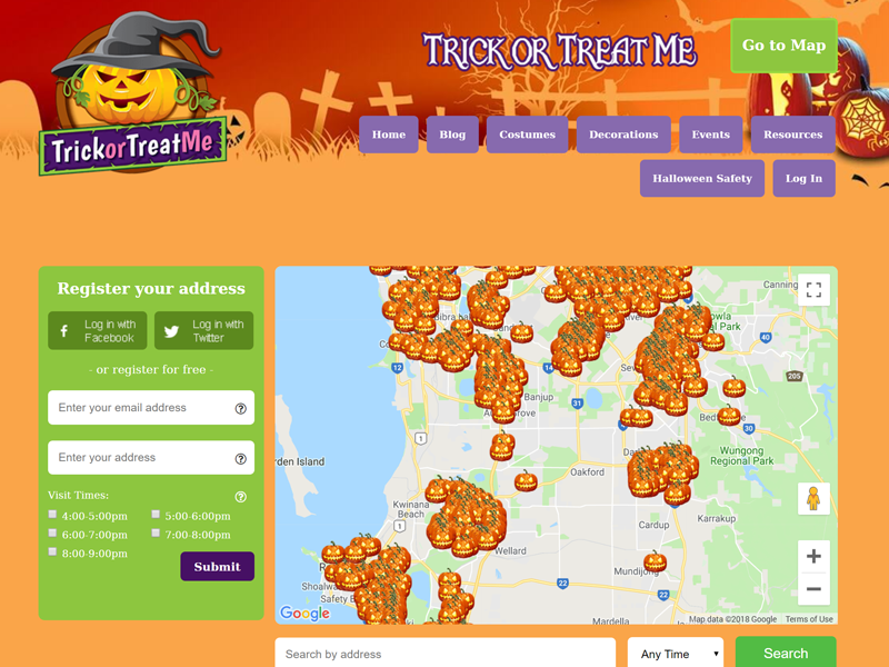 Screenshot of the Trick or Treat Me Website