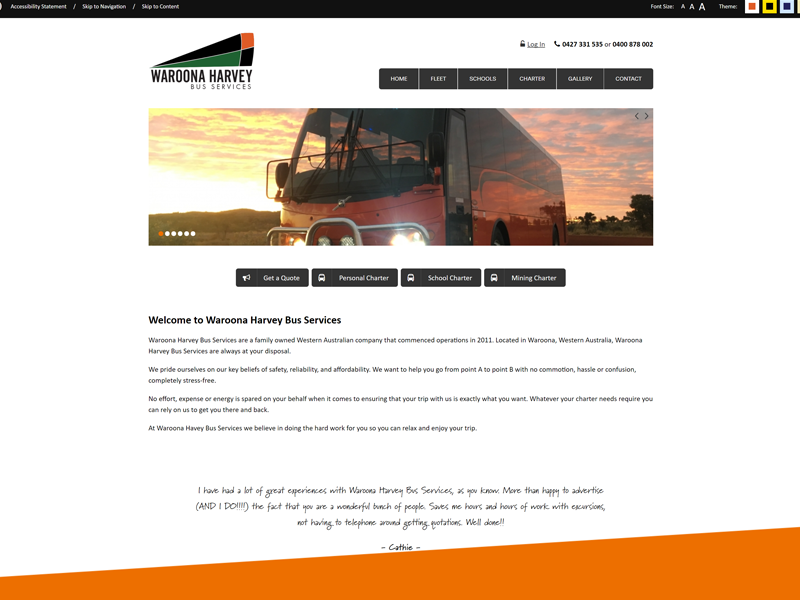 Waroona Harvey Bus Services Website
