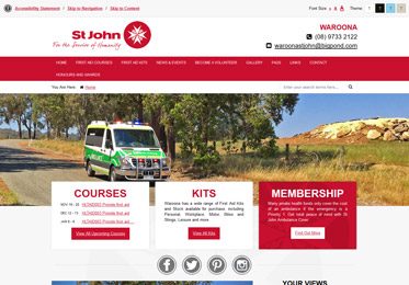 Screenshot of the St John Ambulance Waroona Subcentre Website