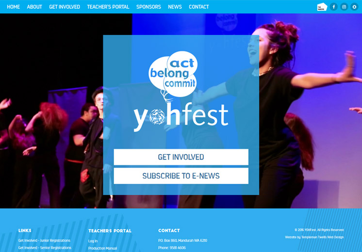 Screenshot of the YohFest Website